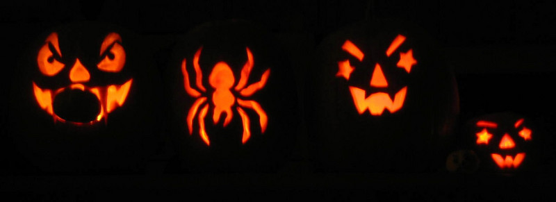 Halloween '08 - lit pumpkins. From left to right: Tod's, Whitney's, Ben's & Kimber's