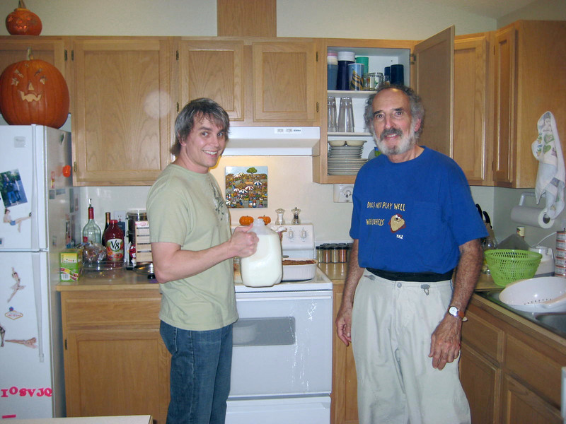 Halloween '08 - hanging in the kitchen...with milk