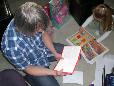 Reading my card from the lovely Whitney.
