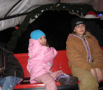 Seeing the Christmas Lights show at Warm Beach (Dec. '08) - Riding in a horse drawn wagon, Belgium horses if I recall correctly.