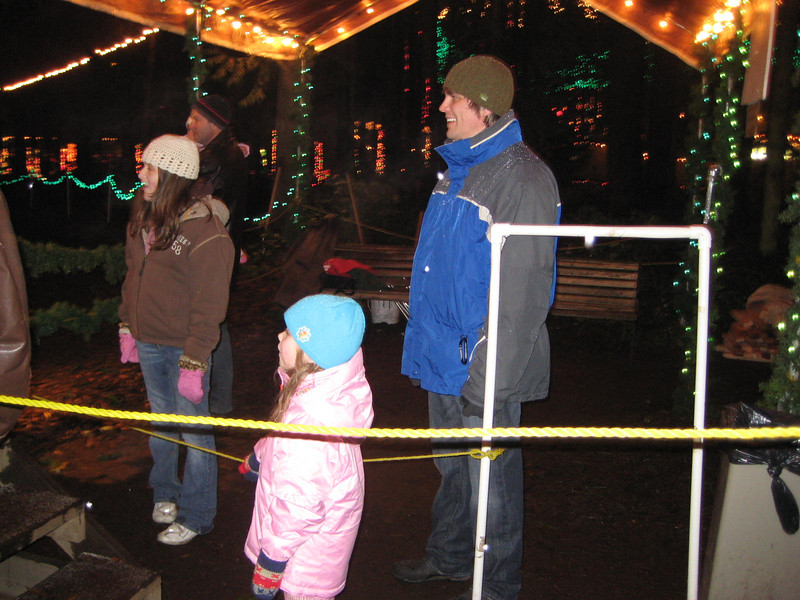 Seeing the Christmas Lights show at Warm Beach (Dec. '08) - Standing in line for the horse ride.