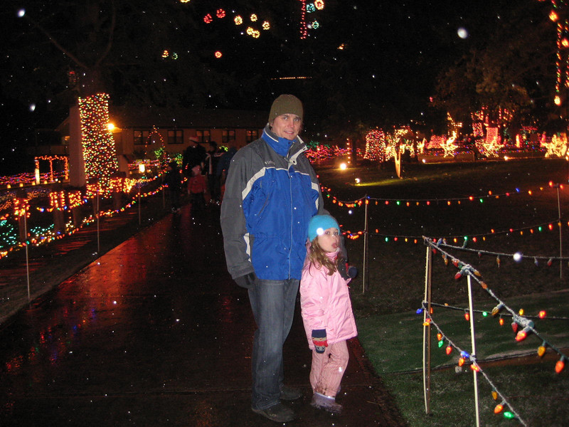 Seeing the Christmas Lights show at Warm Beach (Dec. '08) - Sticking her tongue out...geez.