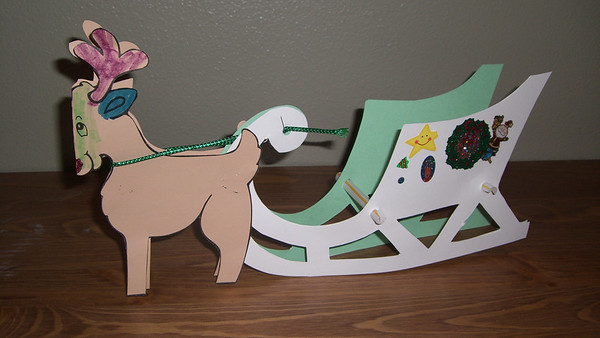 A sleigh and reindeer colored by Kimber (Dec. '08)