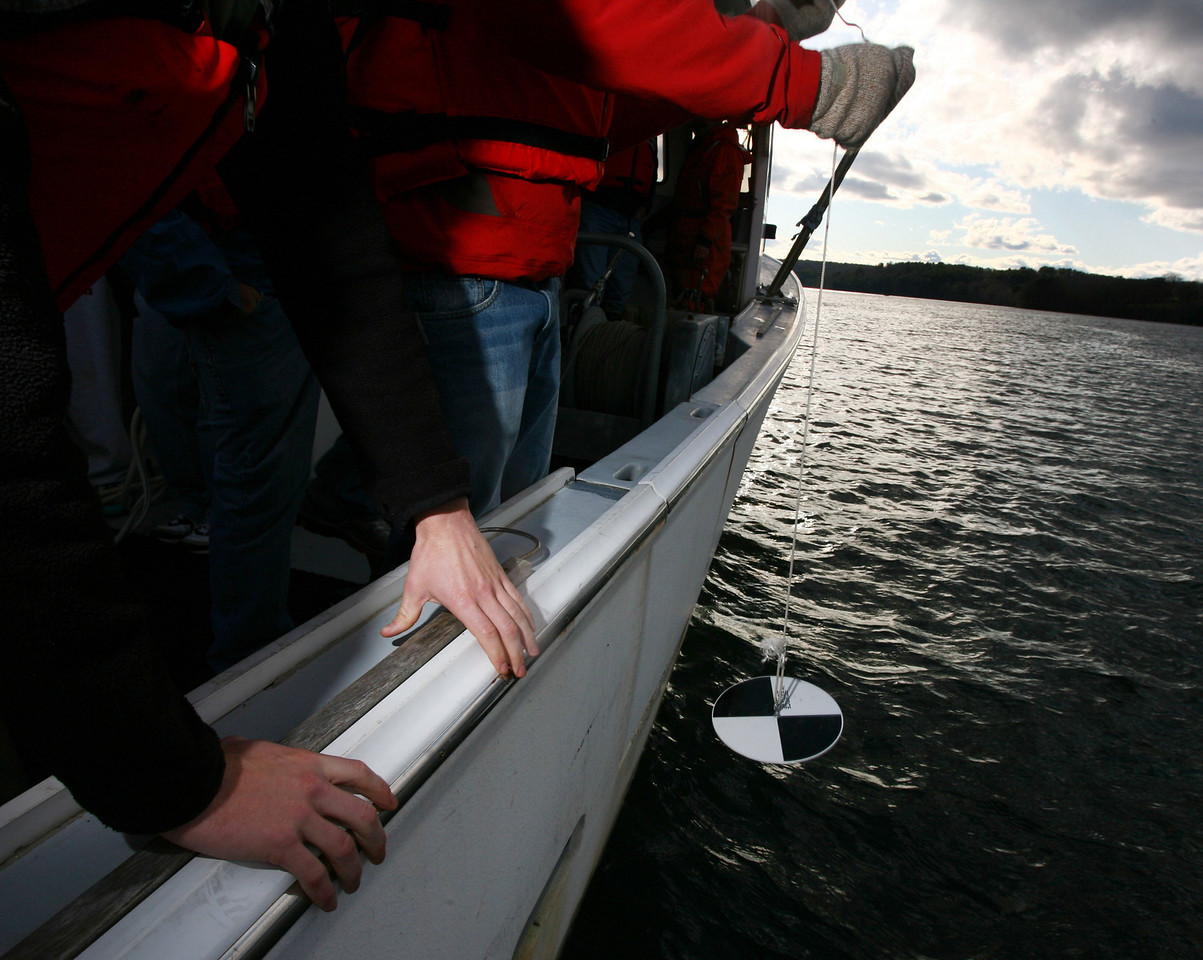 Checking the water's visibility with a Sechi Disk.