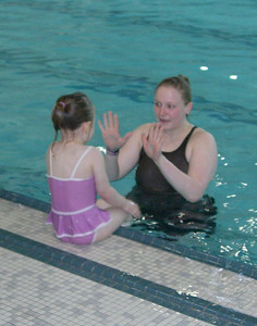 High fives at the end of class. Swim lessons - week 2