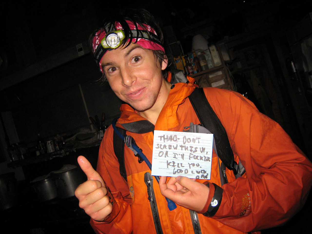 But it was all worth it when we got a friendly note at our first hut!
