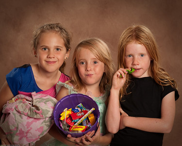 The Girls after storming the neighborhood for candy!