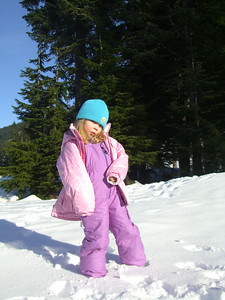 2.7.2009 - Playing in the snow after Kimber's 1st ski lesson at Stevens Pass.