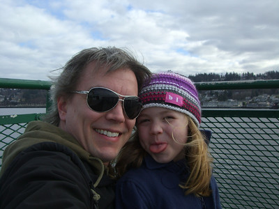 2.22.2009 - Kimber's first ride on a ferry, at Mukilteo. There goes that tongue again.