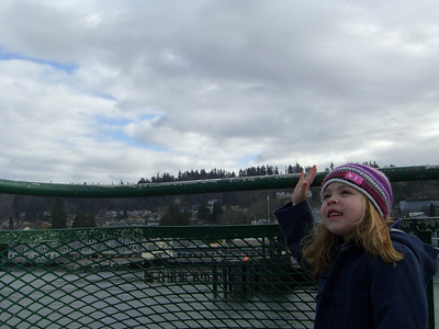2.22.2009 - Kimber's first ride on a ferry, at Mukilteo. She's waving at the captain here.