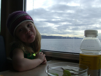 2.22.2009 - Kimber's first ride on a ferry, at Mukilteo. We took a picnic lunch. She has impressive control of her tongue.