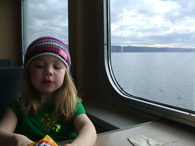 2.22.2009 - Kimber's first ride on a ferry, at Mukilteo. Fritos, yum.