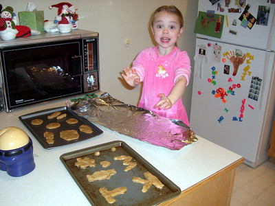 Baking peanut butter cookies.