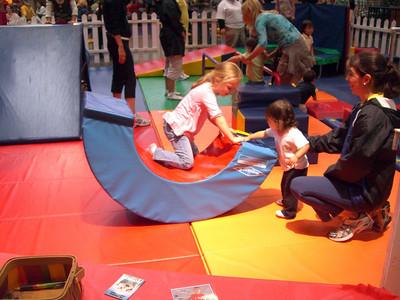 2009.09.05 - Sage and Kimber playing inside the Disney fun area.