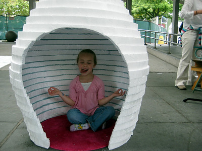2009.09.05 - Kimber emptying her mind in the igloo 'thought pod.' I hear sticking out your tongue helps.
