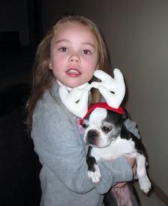 2009.11.30 - Kimber holding Chloe the Reindeer. Decorating the Christmas tree.