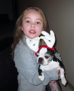 2009.11.30 - Kimber holding Chloe the Reindeer. Decorating the Christmas tree.