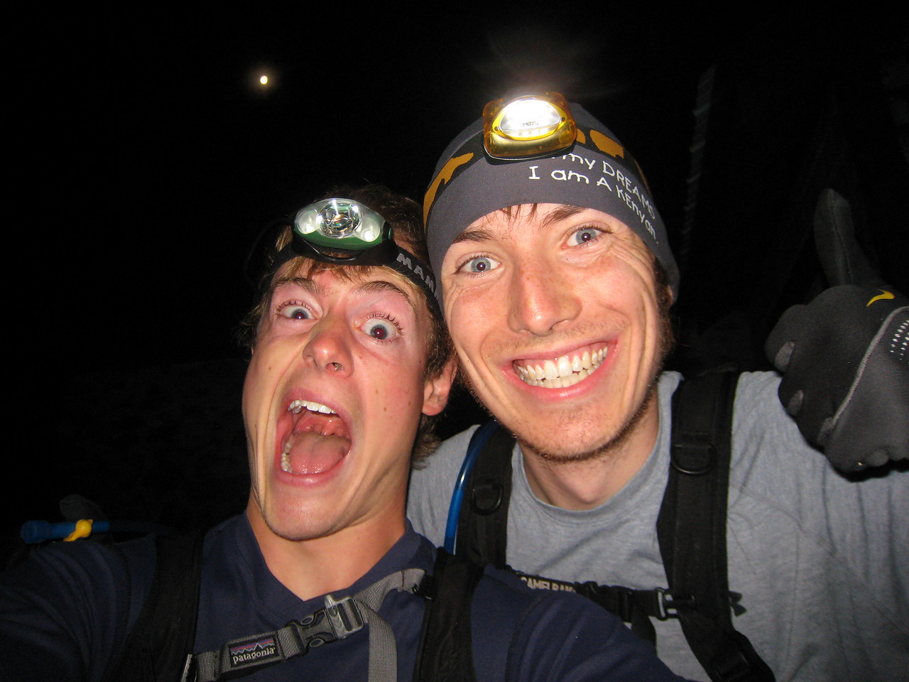 We were amped. The moon was amazing- you can see it right above my head. For the whole traverse, the weather could not have been more perfect.