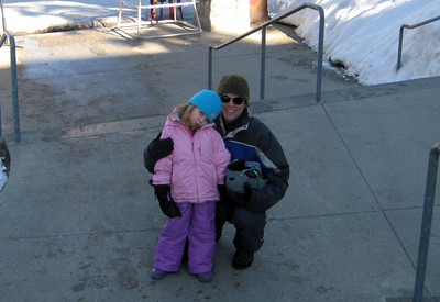2.7.2009 - Kimber's 1st ski lesson at Stevens Pass. On our way in to the school.