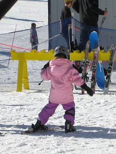 2.7.2009 - Kimber's 1st ski lesson at Stevens Pass. Learning to move around in the skis on flat land.