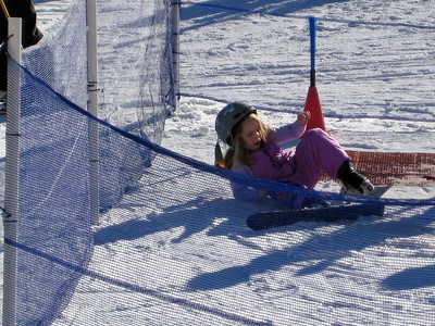 2.7.2009 - Kimber's 1st ski lesson at Stevens Pass. Oops. I also love how the helmet is barely on her head.