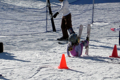 2.7.2009 - Kimber's 1st ski lesson at Stevens Pass. Trying to get up...not quite there yet. :)