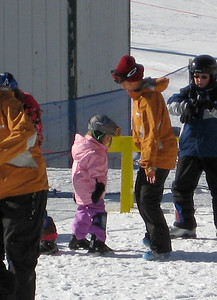 2.7.2009 - Kimber's 1st ski lesson at Stevens Pass. Learning to stand/balance on the skis.