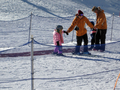 2.7.2009 - Kimber's 1st ski lesson at Stevens Pass. Learning to go uphill by walking sideways.