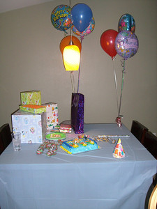 Cake. Check. Presents. Check. Balloons. Check. Party hats. Check. Ok, we're ready!