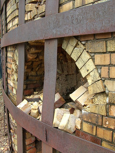 March 2009 - Visiting Grandma in Illinois; at the brickyard where Dad worked as a teenager. Furnace window/vent.