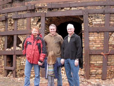 March 2009 - Visiting Grandma in Illinois; at the brickyard where Dad worked as a teenager. This was taken in front of one of the furnaces.