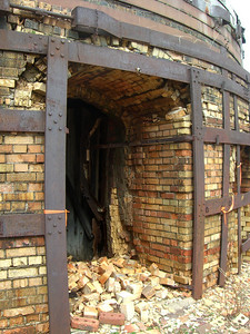 March 2009 - Visiting Grandma in Illinois; at the brickyard where Dad worked as a teenager. Entrance to one of the furnaces.