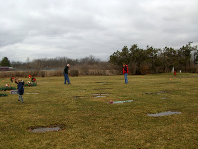 March 2009 - Visiting Grandma in Illinois; at the cemetery looking for family grave sites.