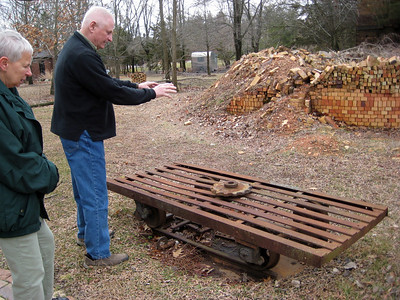March 2009 - Visiting Grandma in Illinois; at the brickyard where Dad worked as a teenager.  Dad explaining how things worked.