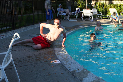 Igor poses by the poolside