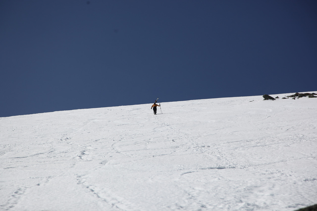 We skied the Snowfields to get down and it was amazing. No one around and corn freshies abounded. I took another run while my father took in the sights and gave my camera a little more practice.