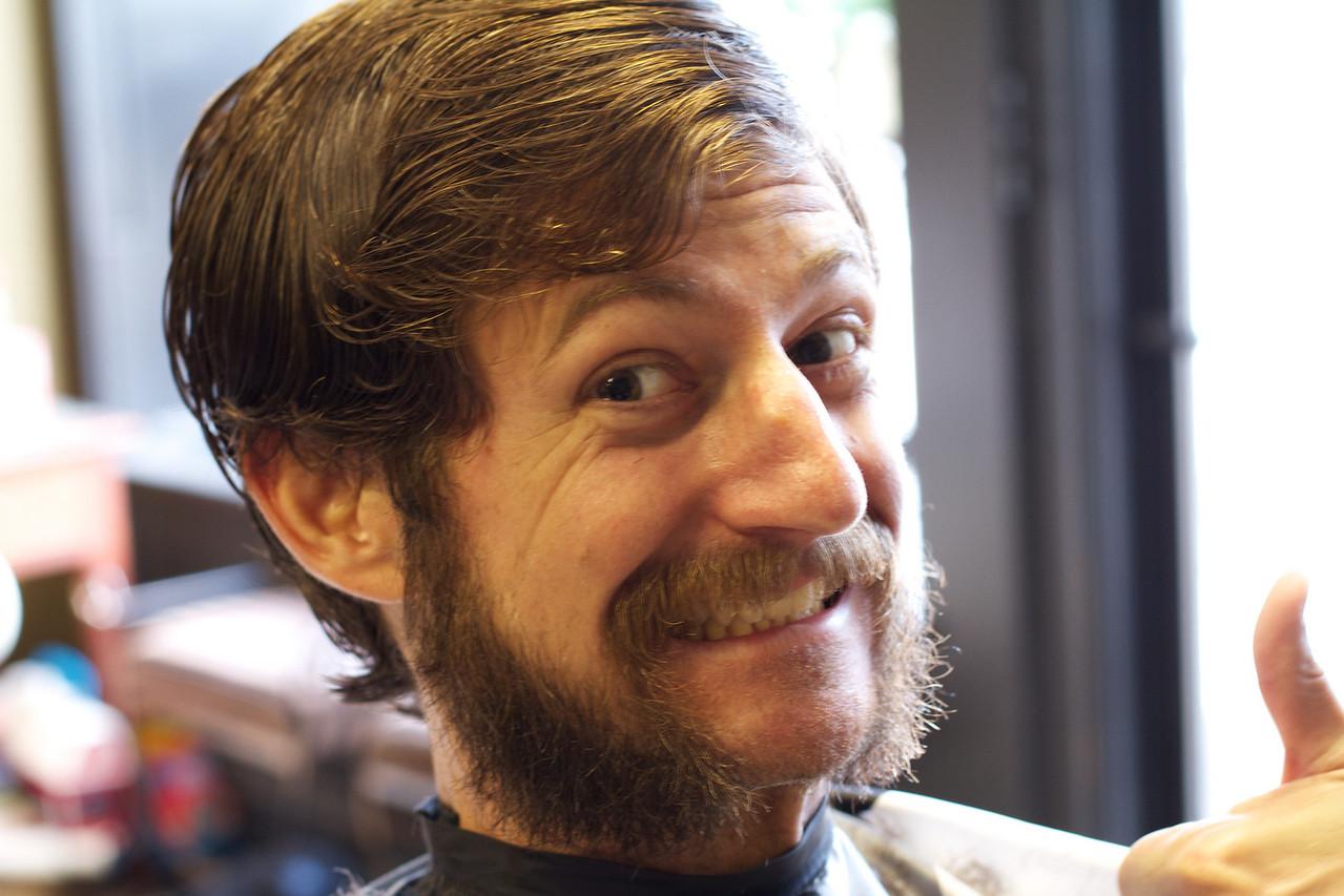 Nick, with 'stache, sideburns, and handlebars.