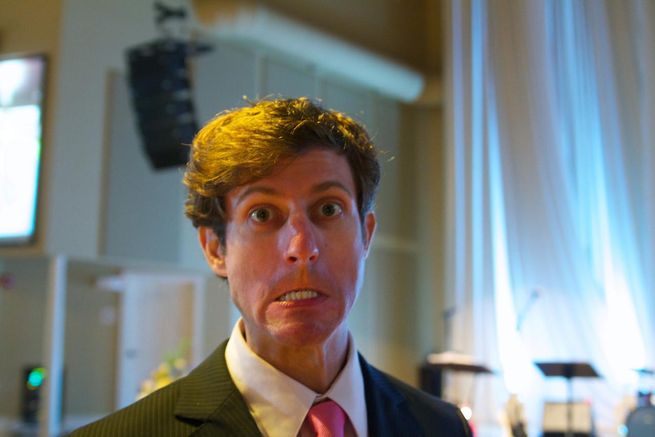 Nick, making faces.