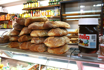 HUGE vat of Nutella and delicious bread from a bakery in Lecce! :)