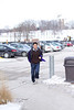 Joe, surprised to see someone pointing a camera at him as he was running into the CoRec.<br /> <br /> It was so bright this day because of all the snow on the ground that this picture is at the fastest shutter speed and is still overexposed.