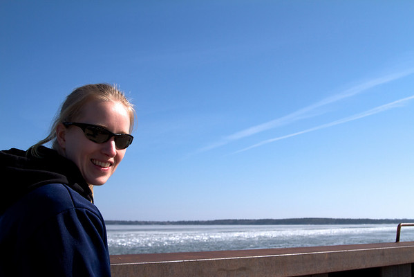 Sara looking out at Madeline Island and the Chequamegon Bay.