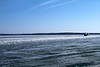 This was the second day of running shuttles to Madeline Island!  There was about a boat width's break across the ice the whole way.