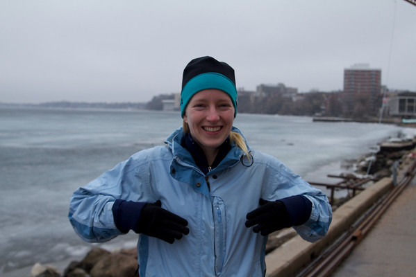 Sara felt compelled to do the chicken dance on the Madison waterfront.