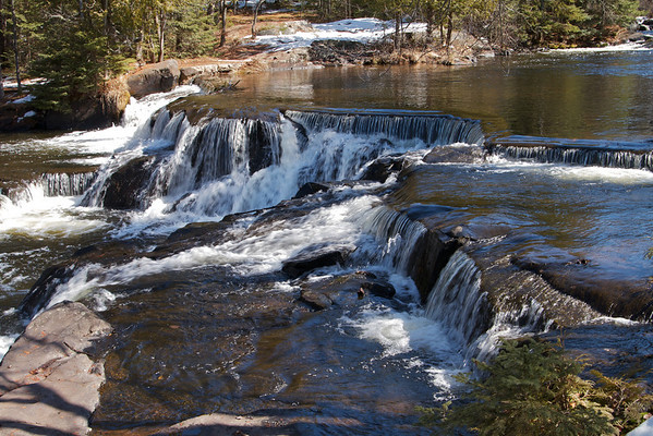 Water flowing towards Bond Falls in the Upper Peninsula.