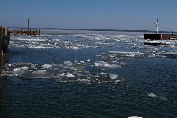 Broken ice around the dock.