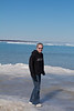 Sara standing on the ice in Lake Huron!  Well, on the strait between Lake Michigan and Lake Huron.