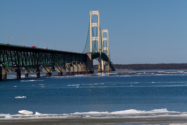 Mackinac Bridge from the Upper to the Lower Peninsula of Michigan.