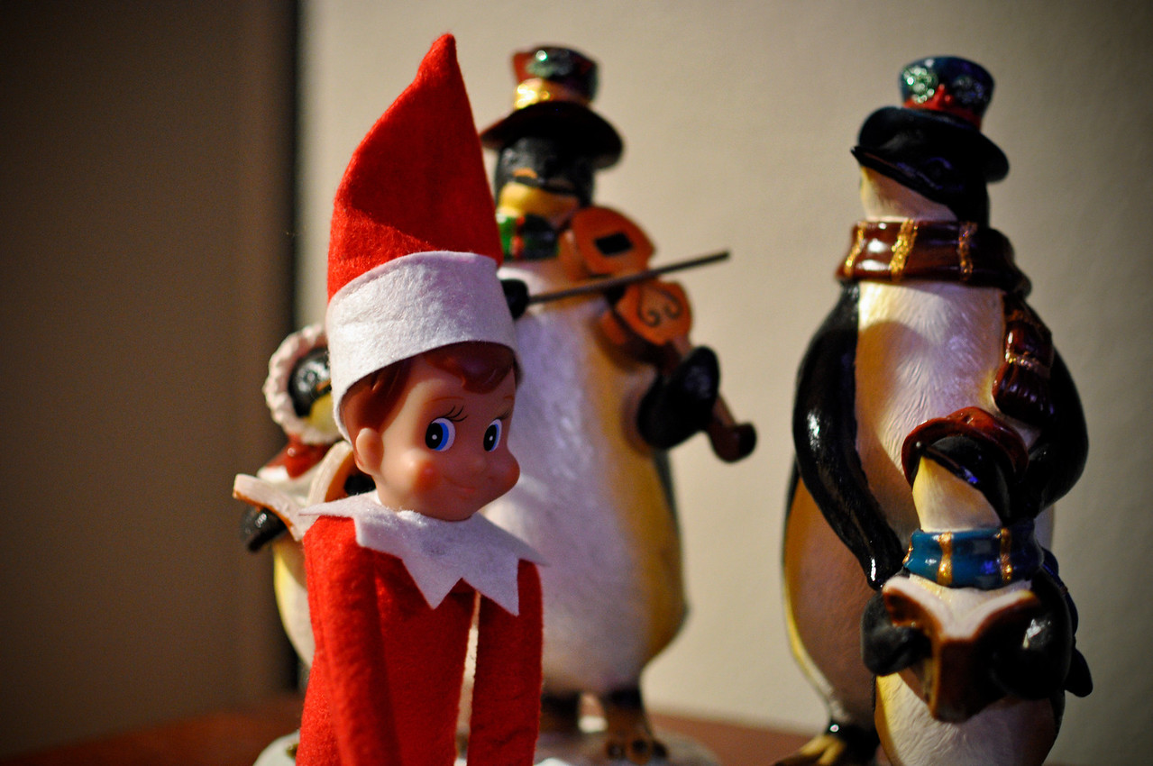 Ellken singing Christmas carols with the penguins on Day 26.