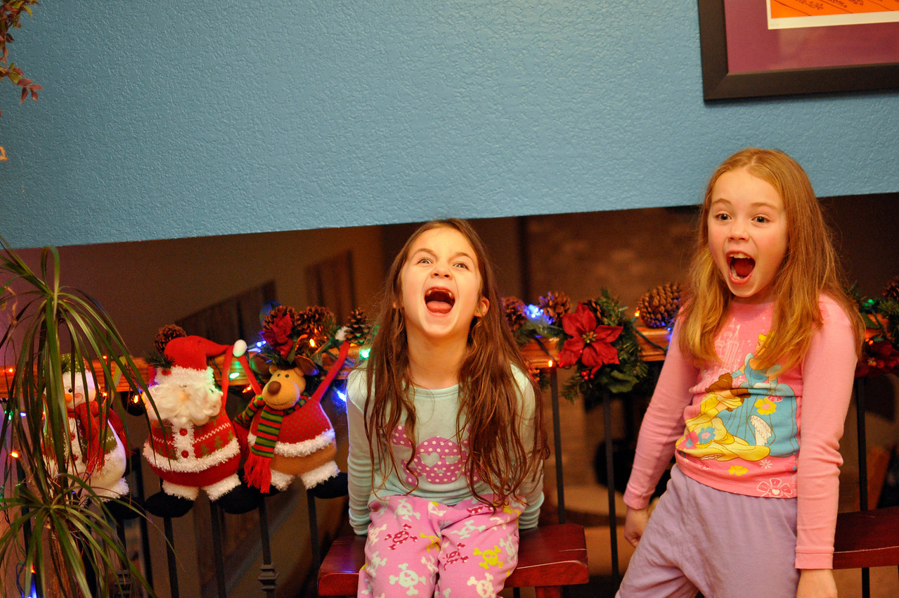 Nov '11 - After decorating the Christmas tree - crazy girls