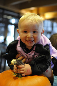 2011.10 - Boo Bash at Rosehill Community Center with Bella and her family. Baby Josh drooling over a pumpkin.